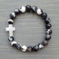 Zebra Jasper & White Quartz Cross Bracelet