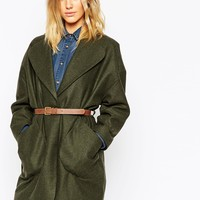 ASOS Coat In Cocoon Fit With Patch Pockets And Belt