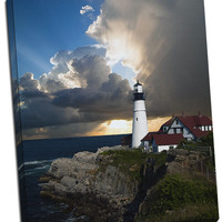 Lighthouse v1 Mirror Wrapped Canvas on 1 1/2-inch Stretcher Bars