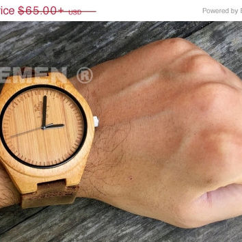 SALE Wood Watch with Genuine Leather. Engrave Your Watch. Mens Watch. Engrve Watch. Groomsmen Gift. Wedding Gift. Personalized Watch. TJ01