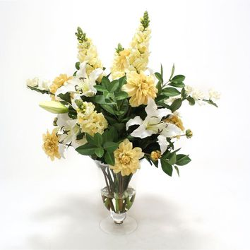Casablanca Lilies and Cream Gold Dahlia and Orange Foliage In Glass Vase