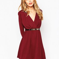 Oh My Love Plunge Skater Dress with Belt at asos.com
