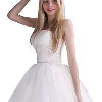 Cocomelody A Line Strapless Ankle Length Embroidery Wedding Dress B13295