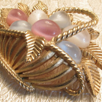 Vintage Crown Trifari Gold Basket Brooch, Pastel Moonglow Cabochons, Easter Eggs, Easter Pin