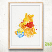 Pooh, Winnie the Pooh - Watercolor, Art Print, Home Wall decor, Watercolor Print, Disneyland Poster