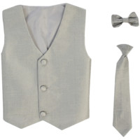 Silver Vest & Tie Set Poly Silk 2 Pc with Choice of Necktie or Bow Tie (Boys 3 months - size 14)