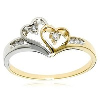 14k Two-Tone Diamond Heart Ring (1/10 cttw, I-J Color, I2-I3 Clarity)