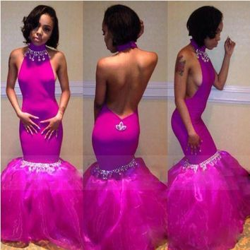 Sexy Backless African Trumpet Fuchsia Prom Dresses Halter Long Mermaid Prom Gowns Shiny Crystal Off  Vestidos Para Graduacion