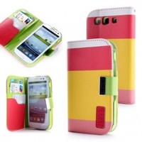 ATC Samsung i9300 Galaxy S3 Premium PU Leather Wallet Case With Card Holder (Red+Yellow+Pink):Amazon:Everything Else