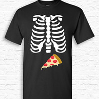 Skeleton Pizza Ribcage Xray Halloween T-shirt Tshirt Tee Shirt Pregnant Pregnancy Shower Funny Cute Creepy Dad Father Couples Costume TF-163