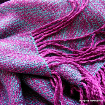Handwoven Blue and Magenta Shawl, Loom woven Bamboo Scarf, Starburst Design, Extra Long, Extra Wide Scarf