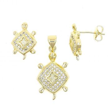 Gold Layered 10.199.0055 Earring and Pendant Adult Set, Turtle Design, with White Micro Pave, Polished Finish, Golden Tone