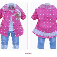 Baby - Pink Polka Dots & Lace 3 Piece Set Size