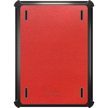 DistinctInk™ OtterBox Defender Series Case for Apple iPad - Red Leather Print Design