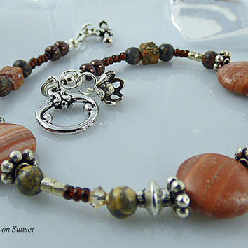 Brown Beaded Bracelet, Sterling Silver Flower Charm, Toggle Clasp, Single Strand, Handcrafted, Original Brown Gemstone Beads,Great Gift Idea