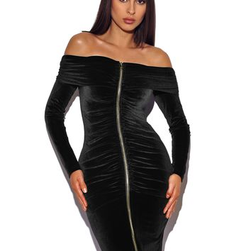 Fatima Black Gold zipper Velvet Off Shoulder Dress