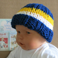 AFL West Coast Eagles Football Beanie, Knitted Baby Hat, 0 Months to 4 Years, Baby Shower Gift