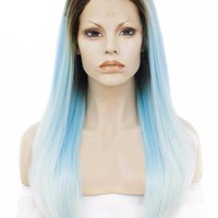 Dark Rooted To Sky Blue White Ombre Straight Long Synthetic Lace Front Wig
