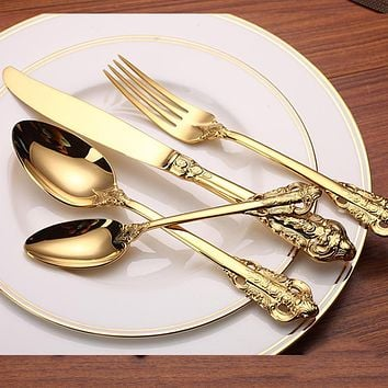 High Quality Luxury Golden Dinnerware Set Gold Plated Stainless Steel Cutlery Set Wedding Dining Knife Fork Tablespoon