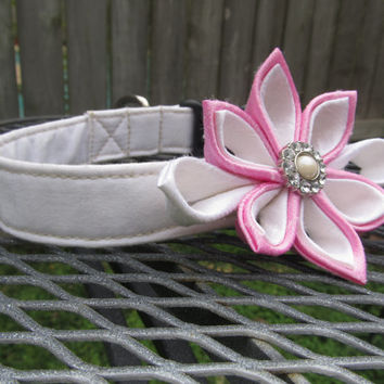 Dog Collar and Flower - READY TO SHIP White and Pink  Kanzashi Flower on White Dog Collar - Pink Wedding Collar, Pink and White Wedding
