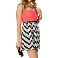 FuchsiaBlackWhite Colorblock Dress