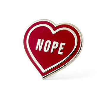 """Nope"" Heart Pin"