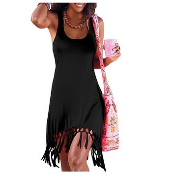 Summer new slim hem tassel knotted sleeveless dress women's clothing