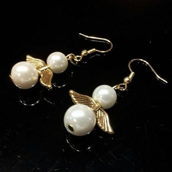 Handmade White Glass Pearl and Gold Plated Pewter Angel Wings Dangle Earrings #WHPEARE65-WH