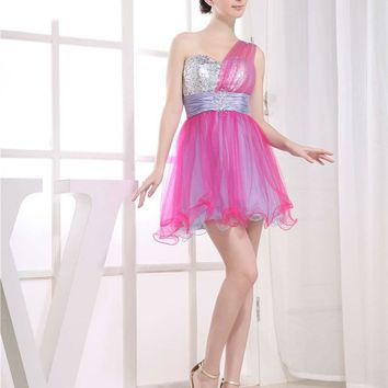 Mini Cocktail Dress Party Prom Dresses One Shoulder Colorful Short Homecoming Dresses