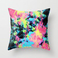 Blacklight Neon Swirl Throw Pillow by Caleb Troy