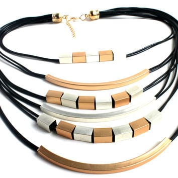 """Matte Matter"" Matte Gold And Black Multilayer Necklace"