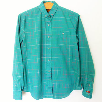 Vintage 1990s Teal Lee Plaid Buttondown Shirt