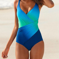 Twisted Ombre One Piece Swimsuit Bikini 11905