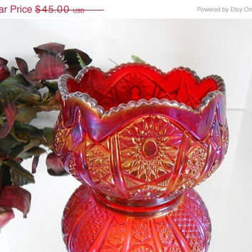 Mothers Day Special Red Carnival Glass Bowl - Indiana Glass Heirloom Series