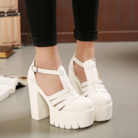 Fashion Super Thick High Heel Shoes