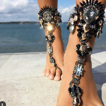 Trendy Women Finger Ankle Bracelet Pie Foot Jewelry 2016Bohemian Beach Charm Crystal Leg Chain Boho Barefoot Sandal Cheap Anklet