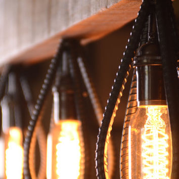 Industrial Barn Wood and Rebar light fixture