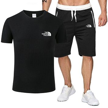 The North Face Tide brand cotton men's and women's sports wild two-piece black