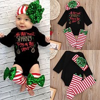 Trendy Newborn Baby Boy Girls Clothes Set Christmas Outfits Clothes Black Bodysuits Leg Warmer 2pcs Clothing