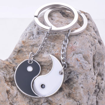 China yin yang enamel couple keychain quality key rings holder high polish ending