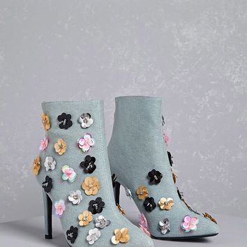 Embellished Denim Booties