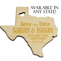 Personalized Wooden State Shape Wedding Save the Date Magnet, Custom Engraved Invitation