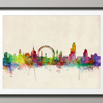 London England Skyline, Art Print 18x24 inch (282)