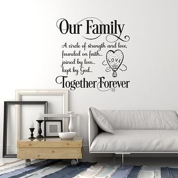 Vinyl Wall Decal Family Saying Inspirational Quote Home Room Decor Stickers Mural (ig6152)