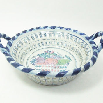 Blue and white openwork ceramic fruit bowl ceramic basket with striped border and  handles