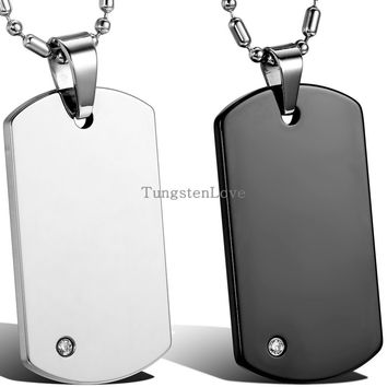 High Quality Chain Fashion Men's Tungsten Carbide Dog Tag Pendant Necklaces Punk Rock Style Jewelry Boys Men Gifts
