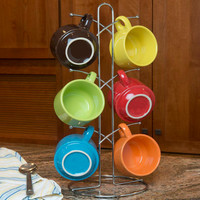 Evelots Chrome Mug Tree Holder With 6 Hooks - Kitchen Storage/Organization