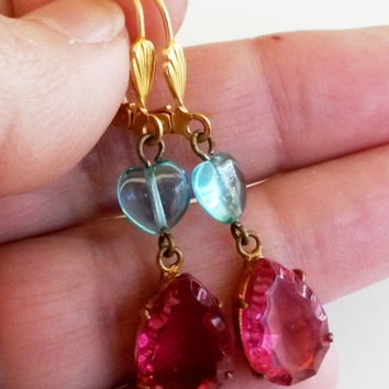Re Purposed Beveled Raspberry Blue Heart Glass Gold Tone Pierced Dangle Earrings 1-7/8""
