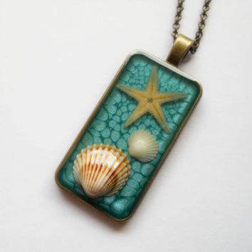 Rectangle pendant, antique brass necklace, resin jewelry, shell starfish in resin, turquoise blue pendant, summer holiday, resin pendant