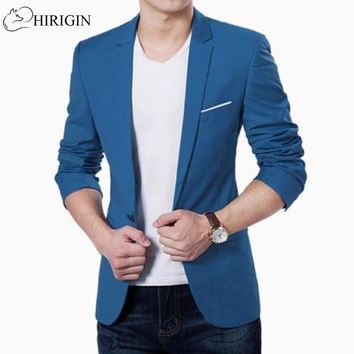 HIRIGIN Mens Korean slim fit fashion cotton blazer Suit Jacket black blue  plus size M to 3XL Male blazers Mens coat Wedding